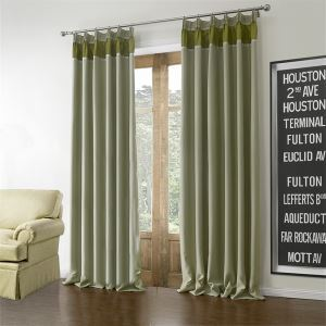 ( One Panel )  Mediterranean Green Solid Pattern Polyester Blackout Curtains-613
