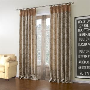 ( One Panel )  Country Jacquard Light Khaki Floral Pattern Rayon Room Darkening Curtains-615
