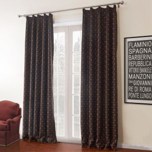 ( One Panel )  Country Jacquard Black Geometric Pattern Polyester & Cotton Room Darkening Curtains-620