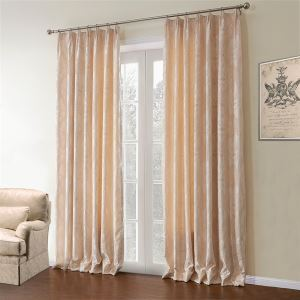 ( One Panel )  Country Jacquard Beige Floral Pattern Polyester & Cotton Energy Saving Curtains-621
