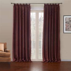 ( One Panel )  Modern Red Solid Pattern Polyester & Cotton Blackout Curtains-622