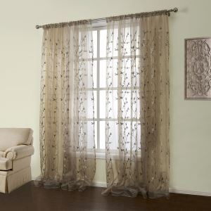 ( One Panel )  Country Embroidered Brown Floral Pattern Polyester & Cotton Sheer Curtains-01