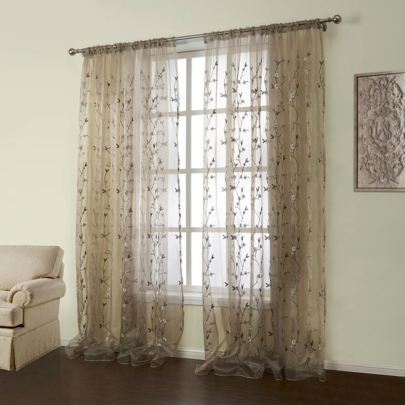 One Panel Country Embroidered Brown Floral Pattern