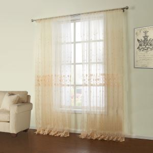 ( One Panel )  Country Embroidered Yellow Floral Pattern Polyester Sheer Curtains-02