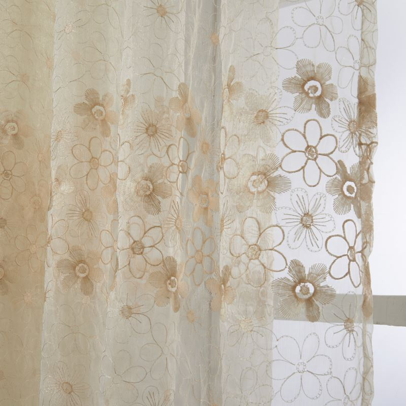 Embroidered Sheer Curtains Curtains Sheer Curtains One Panel Country Embroidered Beige Similiar
