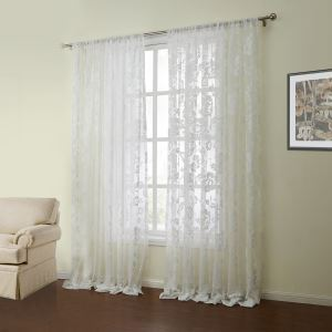 ( One Panel )  Mediterranean Knitted White Floral Pattern Polyester & Cotton Sheer Curtains-04