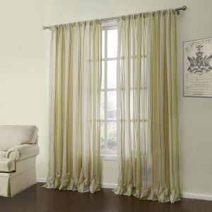 ( One Panel )  Modern Jacquard Yellow & Green Stripe Pattern Linen Sheer Curtains-05