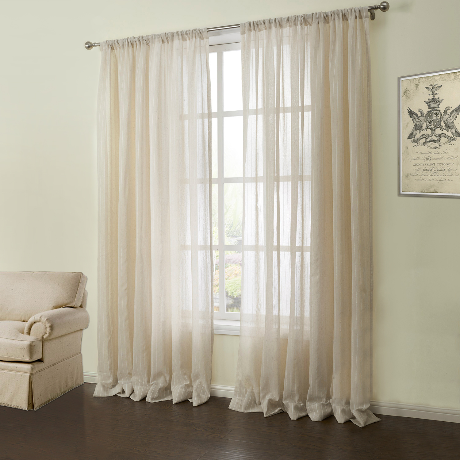 ( One Panel ) Modern Jacquard Oyster Grey Solid Pattern Linen Sheer Curtains  06