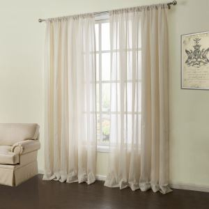 ( One Panel )  Modern Jacquard Oyster Grey Solid Pattern Linen Sheer Curtains-06
