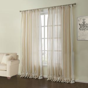 ( One Panel )  Modern Jacquard Beige Stripe Pattern Linen Sheer Curtains-07