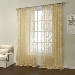 ( One Panel )  Country Knitted Yellow Floral Pattern Polyester & Cotton Sheer Curtains-08