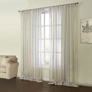 ( One Panel )  Modern Jacquard Colorful Stripe Pattern Polyester & Cotton Sheer Curtains-09
