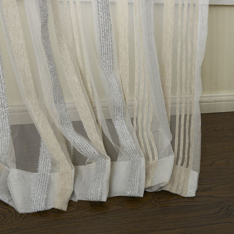 Curtains Sheer Curtains One Panel Modern Jacquard Colorful Stripe Pattern Polyester