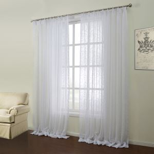 ( One Panel )  Mediterranean White Geomatric Pattern Polyester & Cotton Sheer Curtains-10