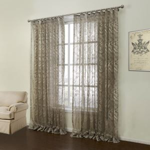 ( One Panel )  Modern Knitted Brown Floral Pattern Polyester & Cotton Sheer Curtains-11