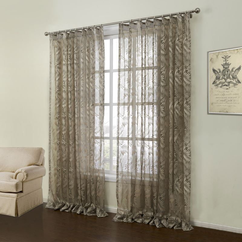 Curtains - Sheer Curtains - ( One Panel ) Modern Knitted Brown Floral ...