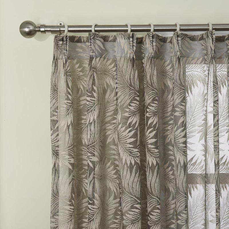 Modern Sheer Curtain Custom Knitted Brown Floral Pattern