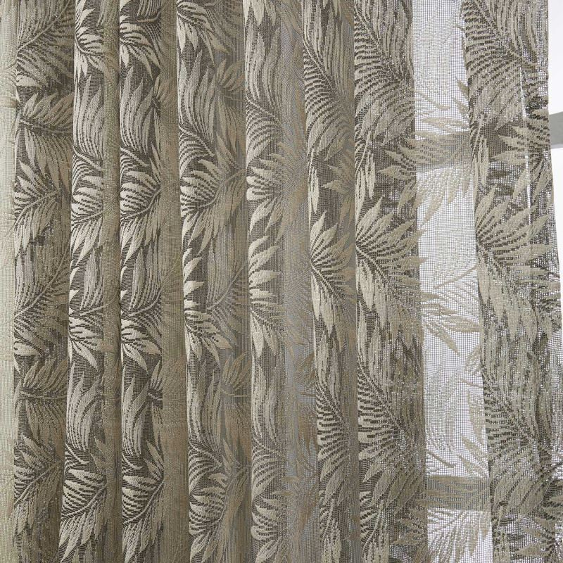 Modern Sheer Curtain Custom Knitted Brown Floral Pattern