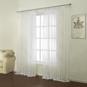 ( One Panel )  Modern Jacquard White Geometric Pattern Polyester & Linen Sheer Curtains-12