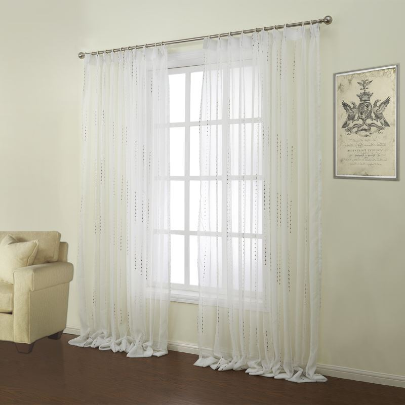 Curtains - Sheer Curtains - ( One Panel ) Modern Jacquard White ...