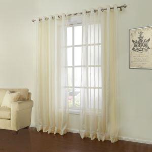 ( One Panel )  Modern Jacquard Yellow Solid Pattern Polyester & Linen Sheer Curtains-13