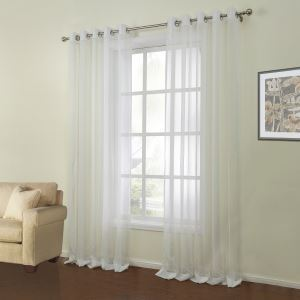 ( One Panel )  Mediterranean Jacquard White Solid Pattern Polyester & Linen Sheer Curtains-14