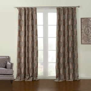 ( One Panel )  Modern Jacquard Coffee Botanical Pattern Chenille Blackout Curtains-17