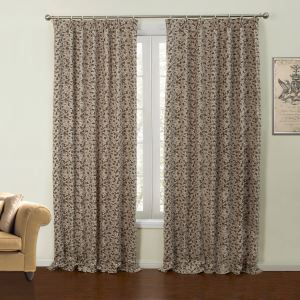 ( One Panel )  Country Jacquard Coffee Geometric Pattern Chenille Room Darkening Curtains-18