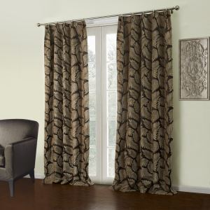 ( One Panel )  Modern Jacquard Coffee Botanical Pattern Polyester & Cotton Blackout Curtains-37