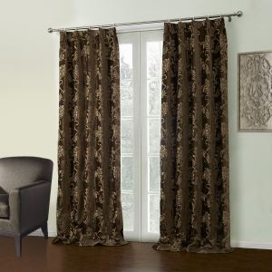 ( One Panel )  Modern Jacquard Coffee Botanical Pattern Polyester & Cotton Blackout Curtains-38