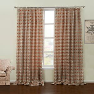 ( One Panel )  Modern Jacquard Geometric Pattern Chenille Room Darkening Curtains-60
