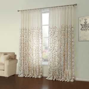 ( One Panel )  Neoclassical Embroidered White Floral Pattern Linen Energy Saving Curtains-29