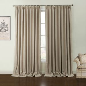 ( One Panel )  Mediterranean Embossed Beige Solid Pattern Polyester Room Darkening Curtains-44