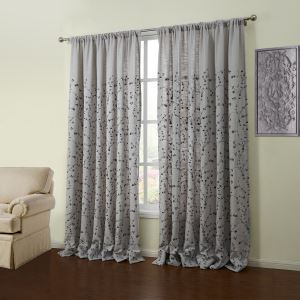 ( One Panel )  Neoclassical Embroidered Grey Floral Pattern Linen Room Darkening Curtains-55