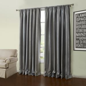 ( One Panel )  Modern Embossed Grey Geometric Pattern Polyester Blackout Curtains-56