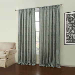 ( One Panel )  Modern Jacquard Light Green Solid Pattern Polyester Energy Saving Curtains-57