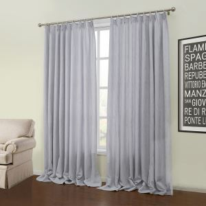 ( One Panel )  Modern Jacquard Light Grey Solid Pattern Polyester Room Darkening Curtains-58