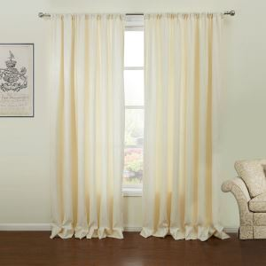 ( One Panel )  Mediterranean Jacquard Beige Solid Pattern Polyester Room Darkening Curtains-62