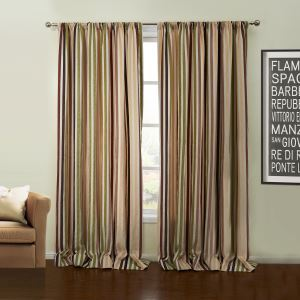 ( One Panel )  Rococo Jacquard Colorful Stripe Pattern Chenille Room Darkening Curtains-63