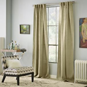 ( One Panel )  Modern Flaxen Solid Pattern Linen Energy Saving Curtains-3