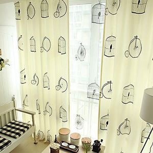 ( One Panel )  Modern Print Beige Geometric Pattern Polyester & Linen Kids/Teen Curtains-3