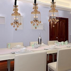 Modern Orange Crystal ceiling lights s Pendant Lights with 3 Lights