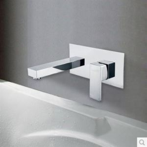Contemporary Wall Mount Bathroom Sink Faucet (Chrome Finish)