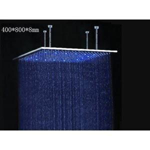 High End Stainless Steel Luxury Shower Head with Color Changing LED Light 16 x 31 inch