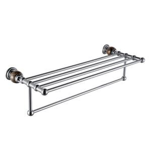 New Modern Chrome-colored Doulbe-layer Copper & Marble Towel Rail Towel Bar