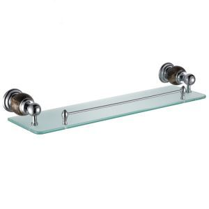New Modern Chrome-colored Glass Shelf Single-layer Copper & Marble & Stalinite Bath Shelf