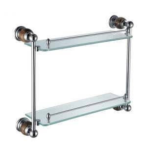 New Modern Chrome-colored Glass Shelf Double-layer Copper & Marble & Stalinite Bath Shelf