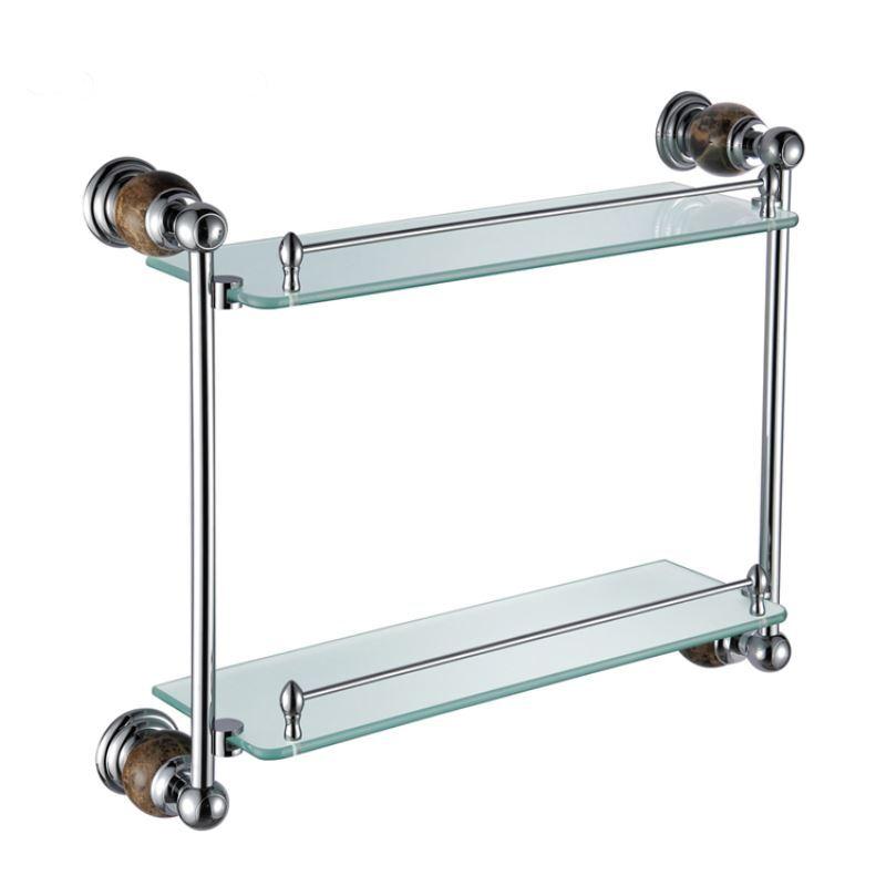 Bathroom bath shelves new modern chrome colored glass for Marble bathroom shelf