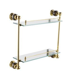Contemporary Golden Glass Shelf Double-layer Copper & Marble & Stalinite Bath Shelf