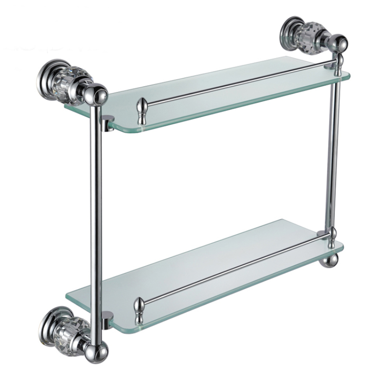 Bath Shelves New Modern Chrome Colored Glass Shelf Double Layer Copper Natural Crystal Bath